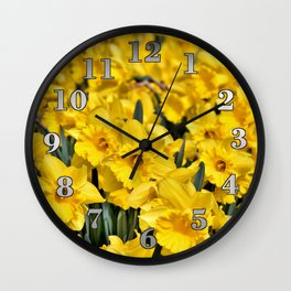 Yellow Narcissus Flowers Wall Clock