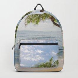 Image Hawaii USA Ocean Nature Sky Sand Waves palm trees Coast Palms Backpack