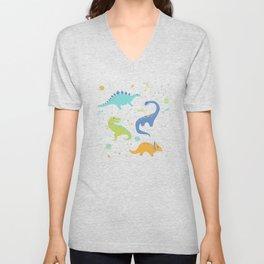 Space Dinosaurs on Orange + Blue Unisex V-Neck