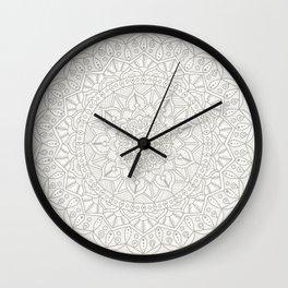 Gray Circle of Life Mandala on White Wall Clock