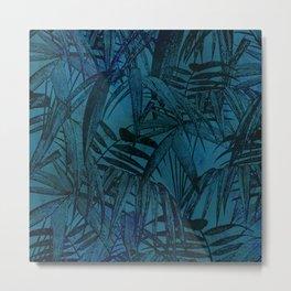 Dark Jungle Night Palm Leaves Metal Print