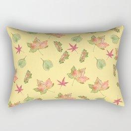Autumn Leaves Pattern, Light Orange Background Rectangular Pillow