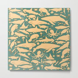 Minimalist, yellow and blue pattern of sea animals Metal Print