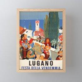 retro plakat lugano festa della vendemma 1957 fete Framed Mini Art Print