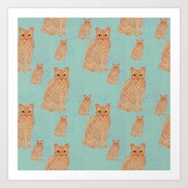 Devon Rex Cat Teal Art Print