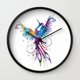Phoenix Watercolor Print Nursery Art Gift for Her Bird Art Wall Clock