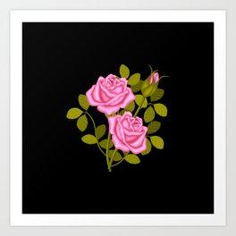 Painted Pink Roses Art Print