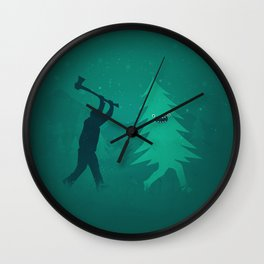 Funny Christmas Tree Hunted by lumberjack (Funny Humor) Wall Clock