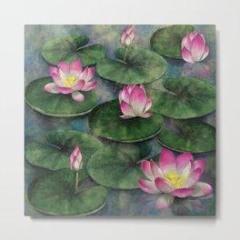 Water Lilly Flower Swamp Metal Print