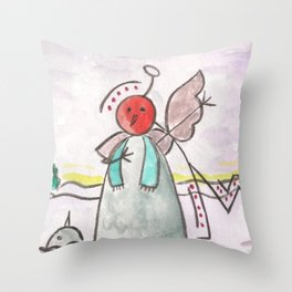 """#cagsticks """"An angel mocking a snowman"""" Throw Pillow"""