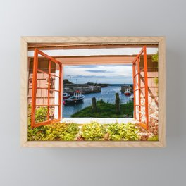A open window on Ballintoy Harbour County Antrim Northern Ireland Framed Mini Art Print