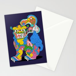 Shiisa Dog 2 of 2 - protection, good luck, asian american Stationery Cards
