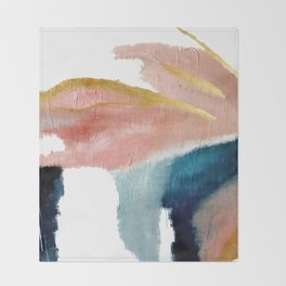 Exhale: a pretty, minimal, acrylic piece in pinks, blues, and gold Decke