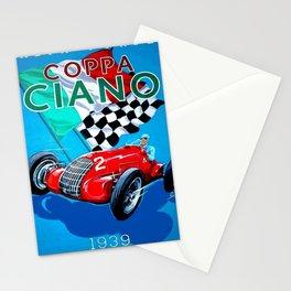 1939 Italian Grand Prix Motor Racing Coppa Ciano Alfa Corse Vintage Poster Stationery Cards