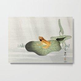 Ohara Koson, Frog On Lotus Leaf - Vintage Japanese Woodblock Print Art Metal Print