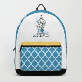 Yoga geometric asanas - meditation lotus pose with hands up Backpack