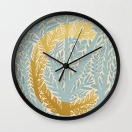 Botanical Metallic Monogram - Letter C Wall Clock
