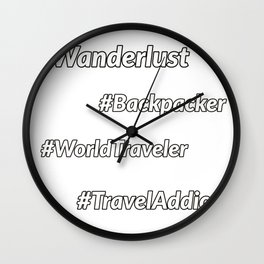 Travel Hashtags Wall Clock