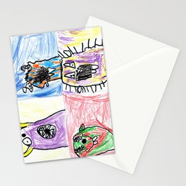 4 Monsters  Stationery Cards