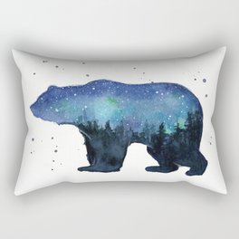 Forest Bear Silhouette Watercolor Galaxy Rectangular Pillow