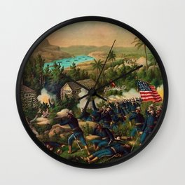 African American Buffalo Soldier 9th and 10th Cavalry at the battle of La Guarina Wall Clock