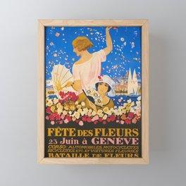 vintage Plakat fete des fleurs geneve fetes Framed Mini Art Print