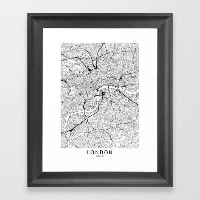 London White Map Gerahmter Kunstdruck