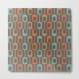 Mid Century Modern Geometric Boho Rectangle Trellis Stripes in Retro Turquoise Orange Brown Metal Print
