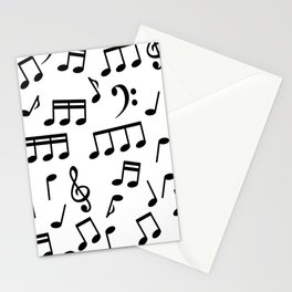 Dancing Black Music Notes on White Background Stationery Cards