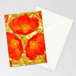 GOLD FOIL SETTING FOR ORANGE POPPIES Stationery Cards