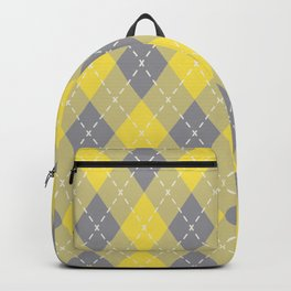 Yellow Gray Yellow-Green Argyle Pattern Pantone 2021 Color of the Years Backpack