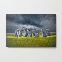 Car Henge in Alliance Nebraska after England's Stonehenge Metal Print