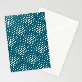 Off White Polka Dot Scallop Pattern on Tropical Dark Teal Inspired by Sherwin Williams 2020 Trending Color Oceanside SW6496 Stationery Cards