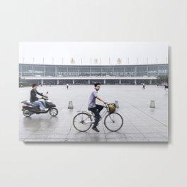Rainy Day Cyclist at Nanjing Railway Station   China Metal Print