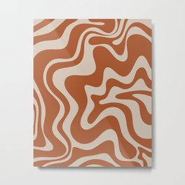 Liquid Swirl Retro Abstract Pattern in Clay and Putty Earth Tones Metal Print