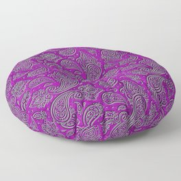 Silver embossed Paisley pattern on purple glass Floor Pillow