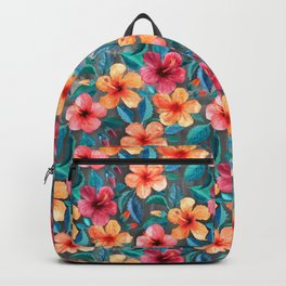 Colorful Watercolor Hibiscus on Dark Charcoal Backpack