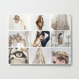 White and Gold Minimalistic Moodboard Metal Print