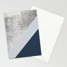 Modern minimalist navy blue grey and silver foil geometric color block Stationery Cards