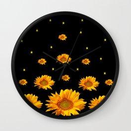 GOLDEN STARS YELLOW SUNFLOWERS  BLACK COLOR Wall Clock