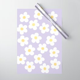 Lavender 70's Retro Flower Power Wrapping Paper