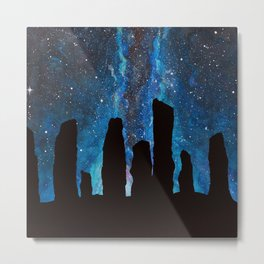 Outlander Craigh Na Dun Standing Stones Watercolor Painting with milky way galaxy Metal Print