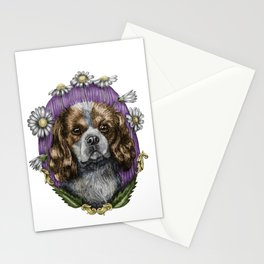 Cavalier King Charles Dog Breed Ink Drawing cute baroque style 2 Stationery Cards