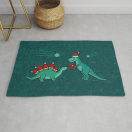 Cute Christmas Dinosaurs with Gift, Santa's Hats and Falling Stars, Teal Green Colors Rug