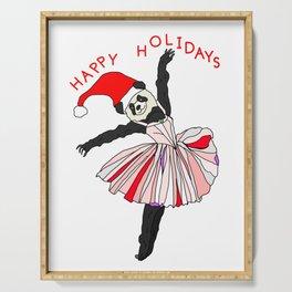 Happy Holidays Secret Santa Panda Ballerina Serving Tray