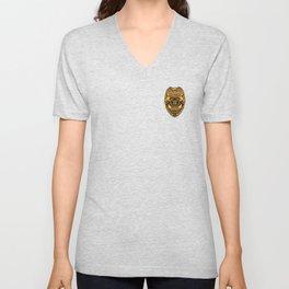 U.S. Military Police Veteran Security Force Badge, Gold Unisex V-Neck