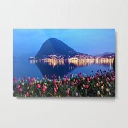 Tulips - Lake Lugano, Switzerland Landscape Photograph Metal Print