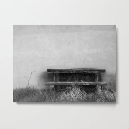 Solitary bench in black and white Metal Print