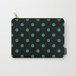 Extra Large Elf Green Polka Dots on Black Carry-All Pouch