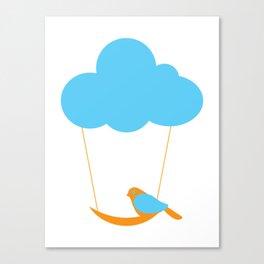 Cute bird and cloud Canvas Print